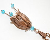 Copper Flower Necklace  Aqua Blue Crystals, Womens Fashion Jewelry