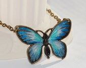 Blue Butterfly Necklace Hand Painted Pendant Wearable Art Jewelry Sale