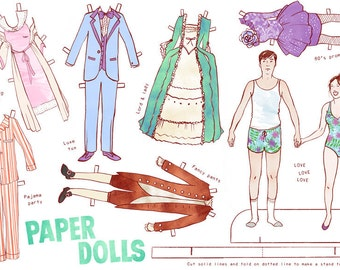 Custom Couple Paper Dolls