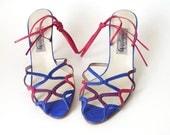 Vintage Lace Up Stiletto Sandals - Bright Blue, Magenta, Violet Straps - Size 10