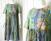 Vintage 1990s Green and Purple Colorful Floral Print Maxi Tent Dress - Festival Darling - Size Small
