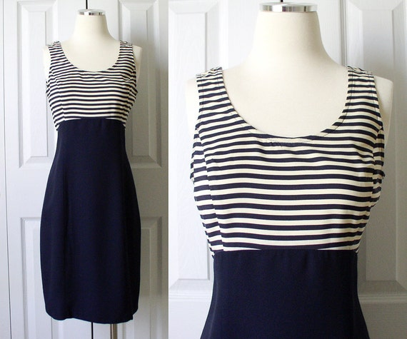 Vintage 1980s Navy Blue Striped Nautical Tank Dress Sz 3 / 4 Small