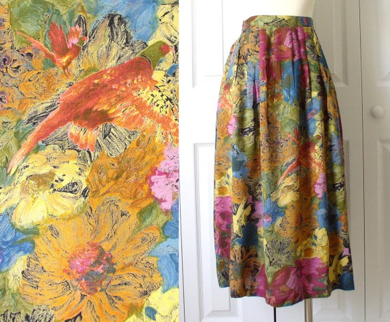 Vintage 1980s Colorful Impressionist Flower Print Full Pleated High Waisted Midi Skirt Size Small