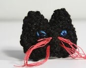 Black CAT Brooch Knit Animal Jewelry, Unique Hand Knitted Pin