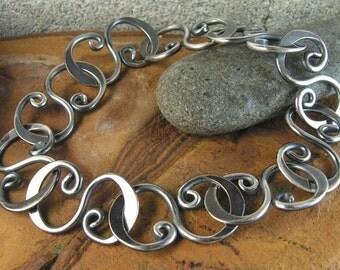 Hammered S-Link Bracelet Oxidized Sterling - 8.5 inches 21.6cm Curve