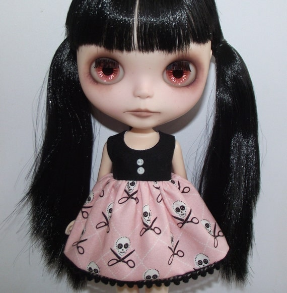 SALE Pink Quilt Pirates Babydoll dress for Blythe and Pullip