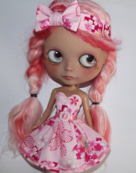 SALE Pink Sakura strapless dress and headband for Blythe and Pullip