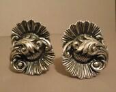 Vintage Earrings Silver Swirl Clip