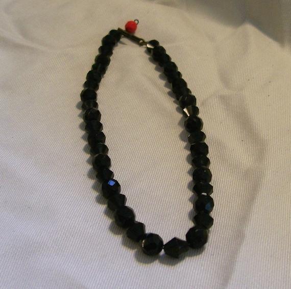 Vintage Necklace Black Glass Beaded Choker