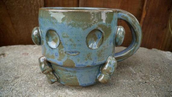Hand thrown ceramic Robot mug in Igneous Blue Glaze