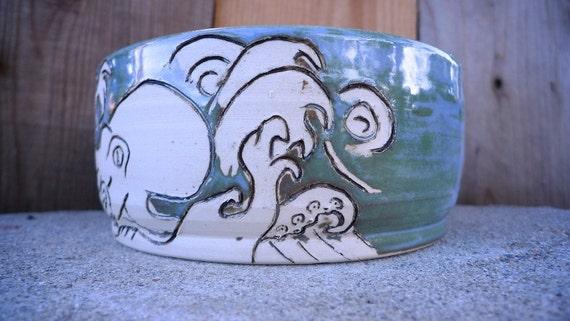 Hand thrown ceramic bowl-Tattoo Octopus Design-