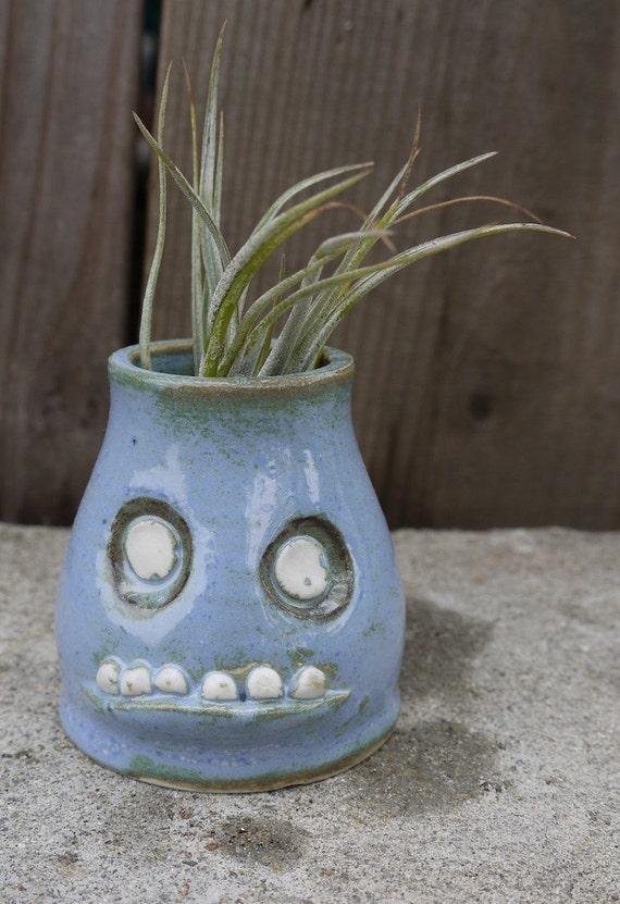 little, stoneware monster bud vase/airplant pot