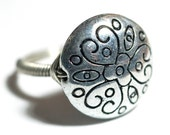 round silver heart and flower bead ring