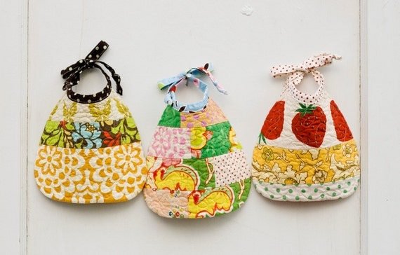 pretty little quilted baby bibs set of three