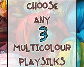 "Playsilks, Custom Set of Three Multicolour 35"" Play Silks (Waldorf Inspired Toys)"