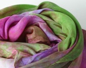Play Silk Inspired By Art : Garden at Giverny -- Monet (35 inch Hand Dyed Natural Toy )