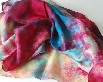 Playsilk, Waldorf Toy : Monet Poppies (35 inch Hand Dyed Play Silk )