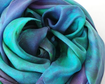 Waldorf Play Silk : Heart of the Mermaid (35 inch Hand Dyed Natural Toy)
