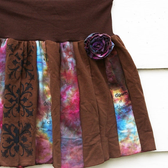 SALE Tshirt Skirt : 'Ring Around the Rosy' w/ Detachable Rose Pin (Blueberry Crush Girl's Size 14 or Ladies' Size Small) , size 5T 6T)