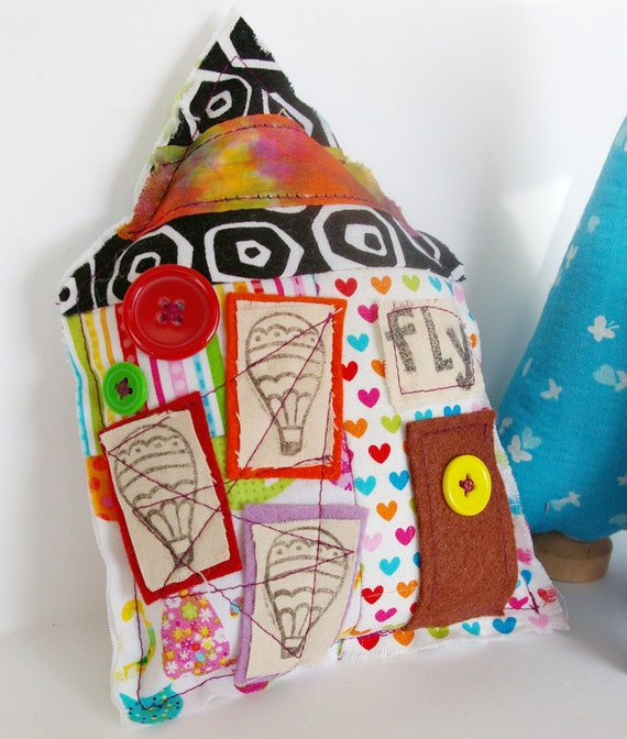 House Pillow Ornament: Come FLY With Me (Cotton and Wool Soft Stuffed Home)