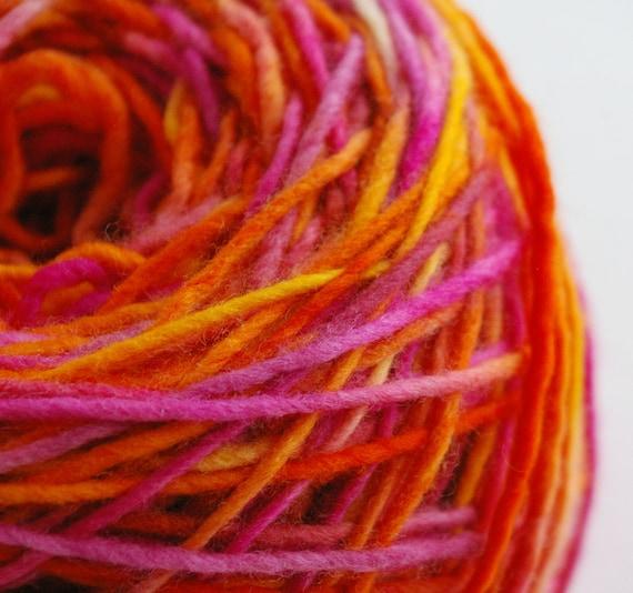 Felting Yarn: Hand Painted Merino Single Ply Wool Yarn (Heart of the Rainbow, 3.5 oz. or custom amount)