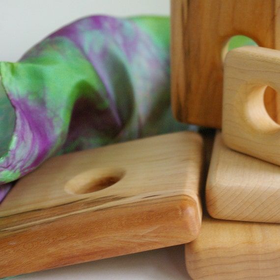 SALE Playsilk and Wooden Stacker Toy Set for Baby or Toddler (All Natural, Waldorf Inspired) Save 30%