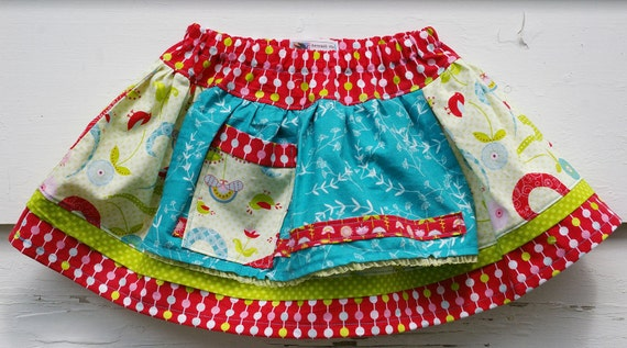 Toddler Apron Skirt : The Puddle Jumper Skirt (Pretty Bird,  Size 2T 3T )