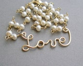Love is Golden Necklace - pearls and 12K gold-fill