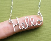 Hello Necklace - sterling silver wire word