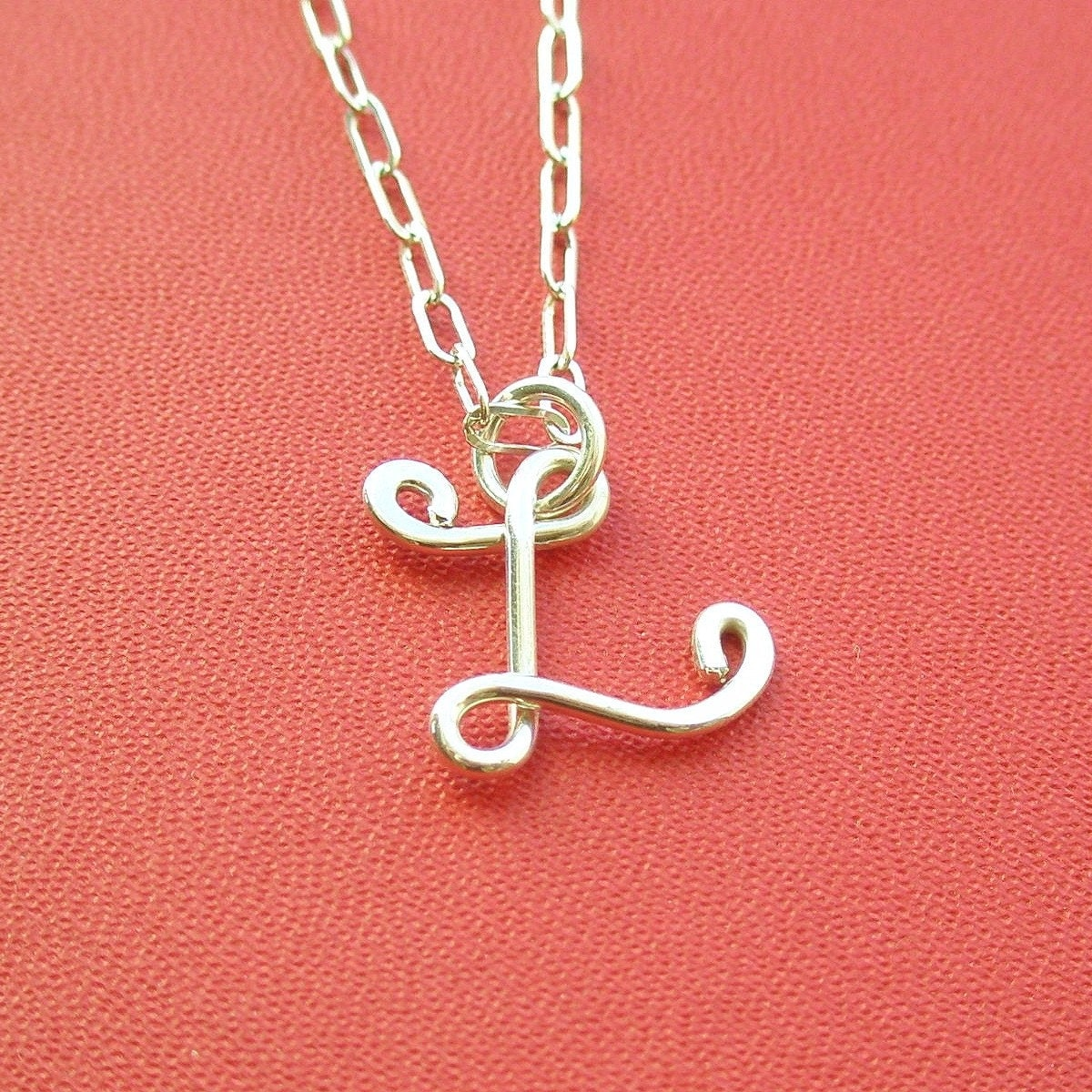 small letter l necklace all sterling silver zoom