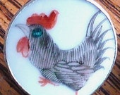 Awesome Rooster Ming Dynasty Shard Button with Silver Colored Bezel