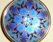 Pretty Looking Glass Psychedelic Button - Vibrant, Iridescent, Paperweight Psychedelic Button