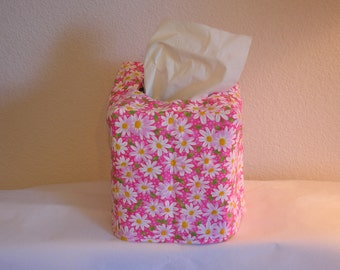 Tissue Box Cover Daisies on Pink