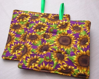 Pot Holders set of two sunflowers