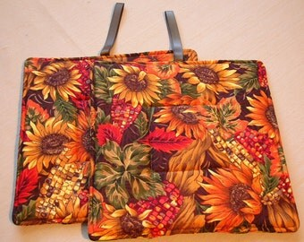 Pot Holders set of two Sunflowers and Autumn Corn