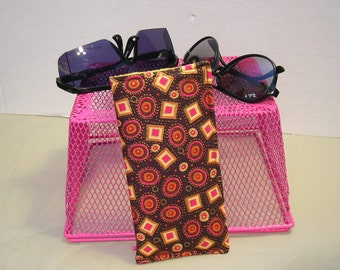 Eyeglass Case soft fabric browns and pinks