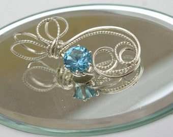 Sterling Silver Aquamarine Gorgeous  Sculpted Pendant
