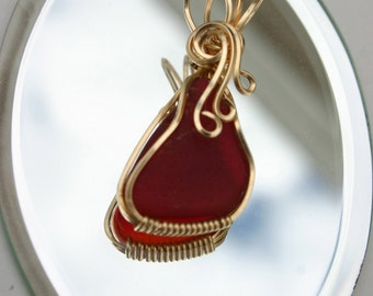Rare Authentic Red Sea Glass Pendant 14k GF Artfully Wire Sculpted