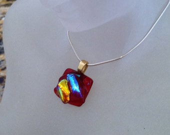Fire and Ice-Dichroic Fused Glass Pendant