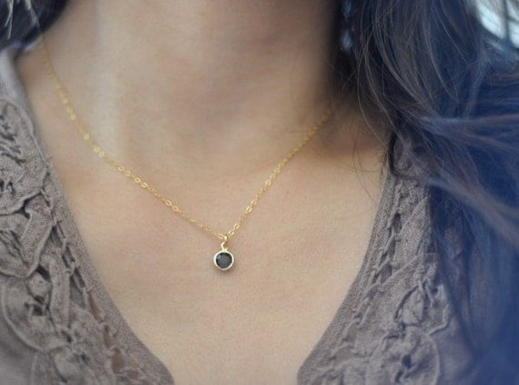 Alice  - vintage blue charm necklace on gold filled chain - small dainty jewelry christmas gift for her