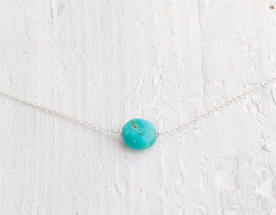 Turquoise Pebble - small organic round stone necklace on sterling silver chain