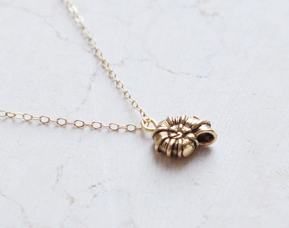 Spiral shell - antique gold charm necklace - simple jewelry
