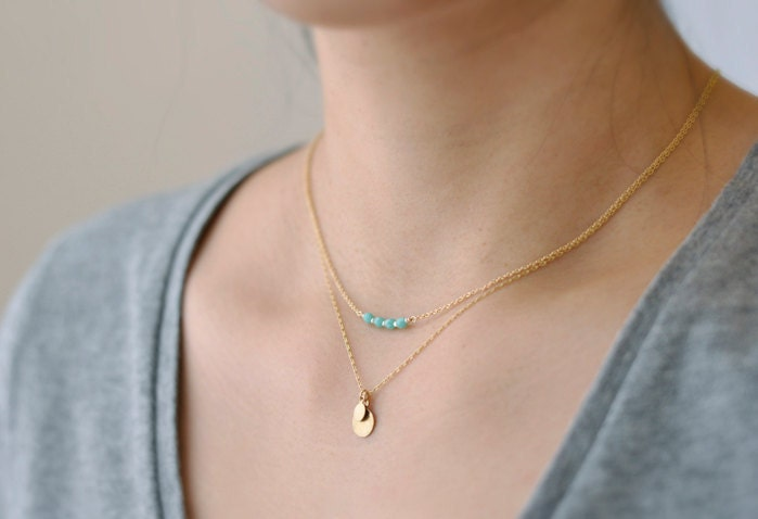 Icing Necklace Tiny Turquoise Beads Delicate 14k Gold Filled