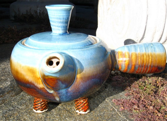 CLEARANCE Kyusu Style Teapot in Amber and Turquoise Blue