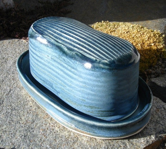 Large Butter Dish in Slate Blue
