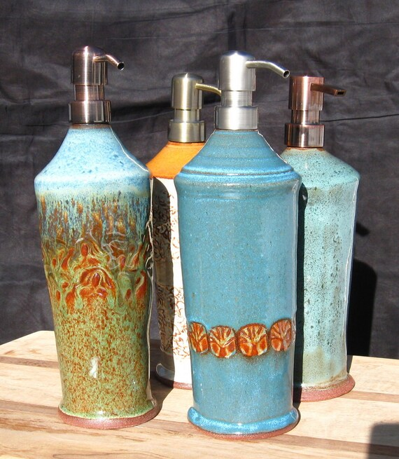 Tall Kitchen Sink Stoneware Soap Dispenser with Stainless Steel Pump in Turquoise Blue with Tree Stamps