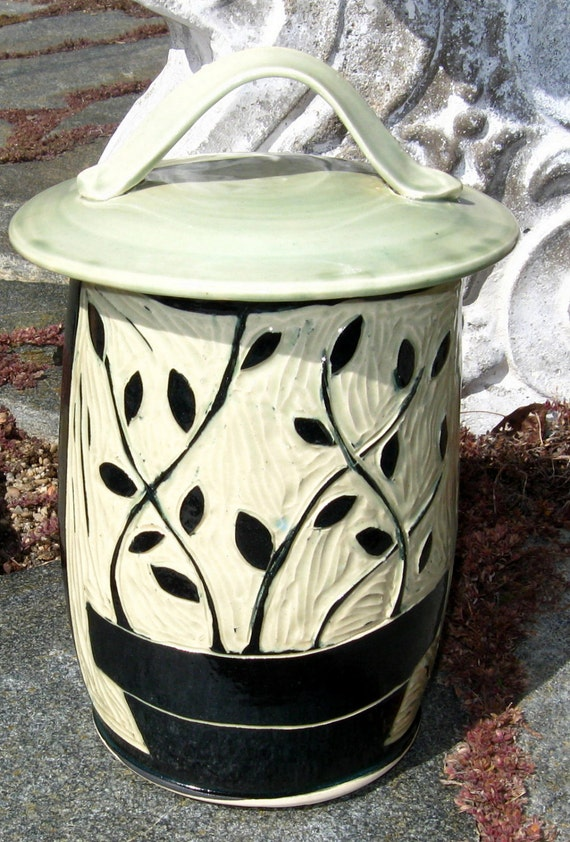 Large Canister Compost Jar Cookie Storage with Handcarved Plants