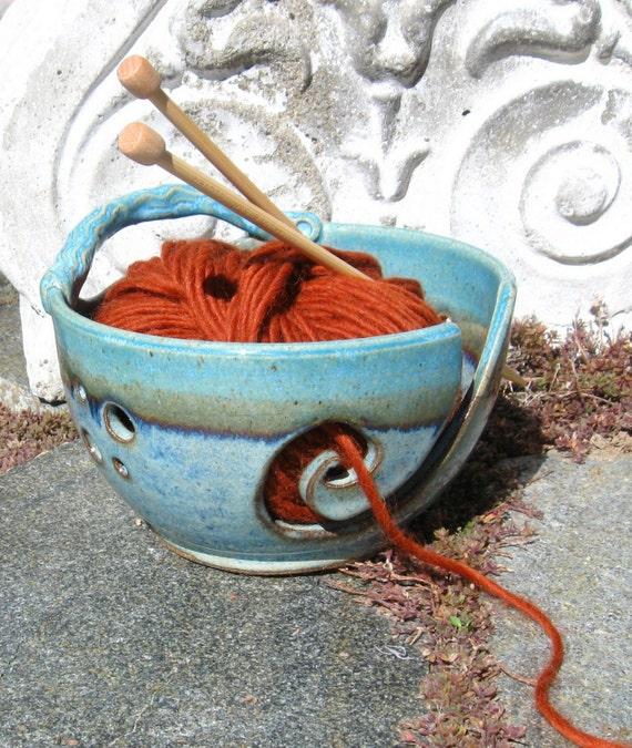 Yarn Bowl Knitting Crochet in Shades of Blue