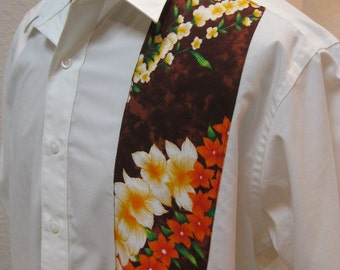 SALE Mens Aloha Shirt Off White With Polynesian Fabric Detail CUSTOM SIZES available
