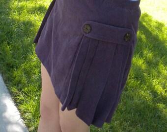 Skort in Purple Corduroy with Side Pleats SALE